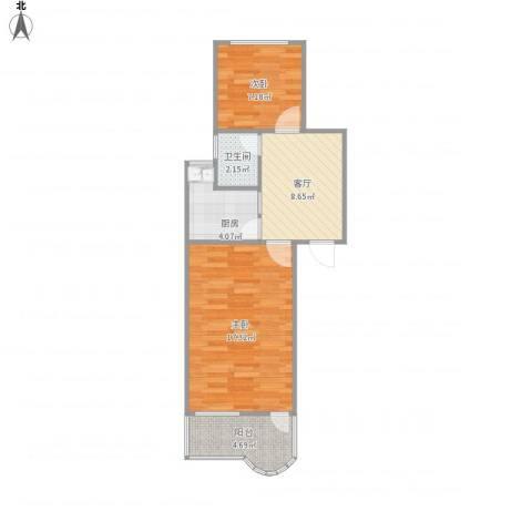 凤凰西街小区2室1厅1卫1厨60.00㎡户型图