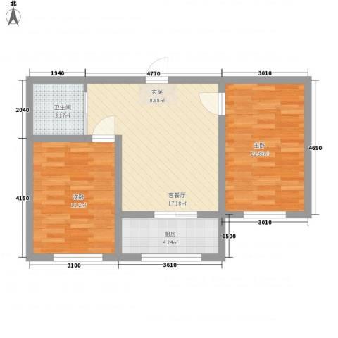 轩泽硅谷壹号2室1厅1卫1厨70.00㎡户型图