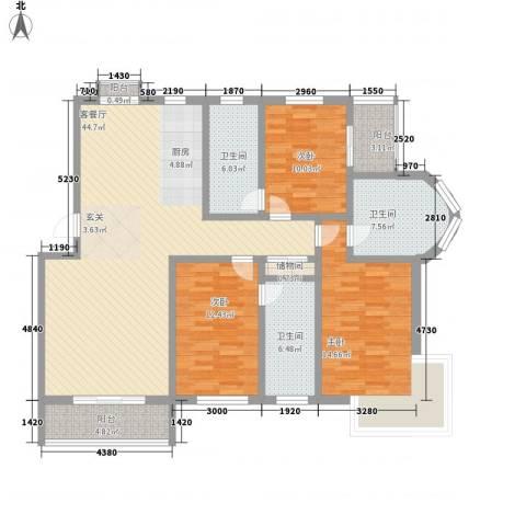 温泉桃花城3室1厅3卫0厨162.00㎡户型图