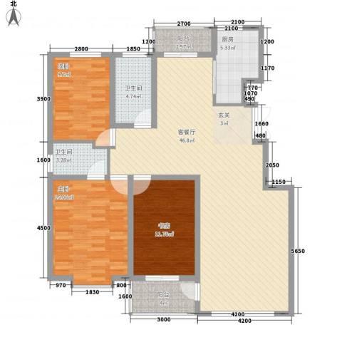 力旺康景3室1厅2卫1厨137.00㎡户型图