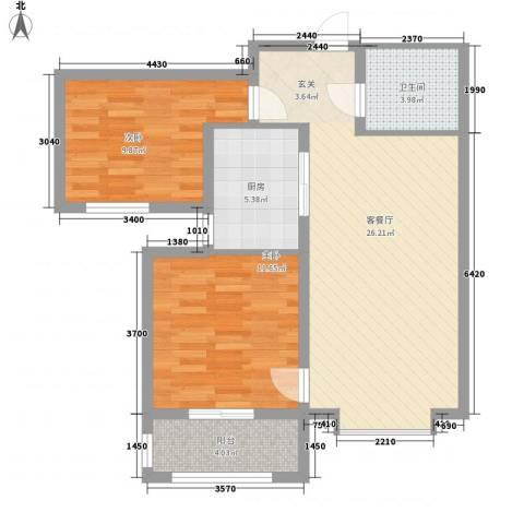 丽景华苑2室1厅1卫1厨89.00㎡户型图
