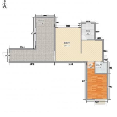 海滨花园1室1厅1卫1厨83.00㎡户型图