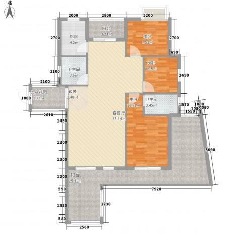 海滨花园3室1厅2卫1厨123.00㎡户型图