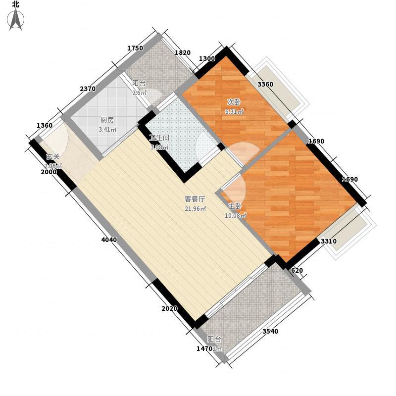 越秀可逸豪苑76.00㎡7栋三座05户型2室2厅1卫1厨