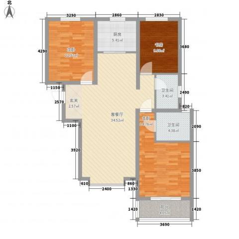 丽景华苑3室1厅2卫1厨126.00㎡户型图