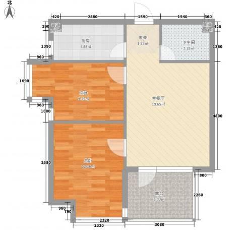 宏发三千院2室1厅1卫1厨78.00㎡户型图