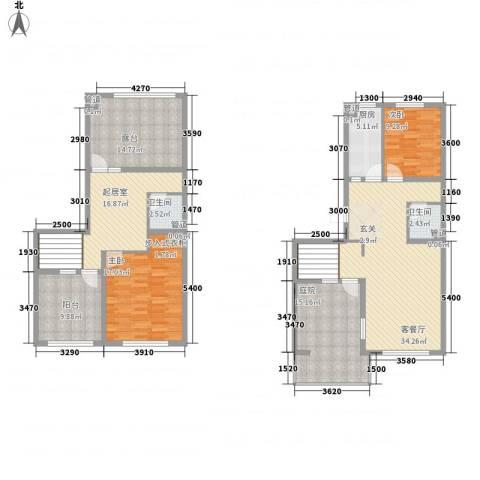 高教新城・学区嘉园2室1厅2卫1厨142.00㎡户型图