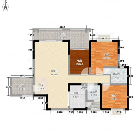 长欣中央广场3室1厅2卫1厨100.03㎡户型图