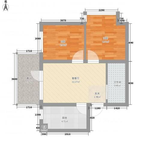 宏发三千院2室1厅1卫1厨60.00㎡户型图