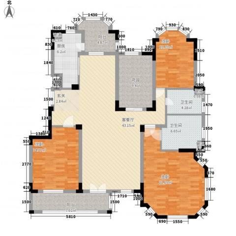 紫金英郡3室1厅2卫1厨151.00㎡户型图