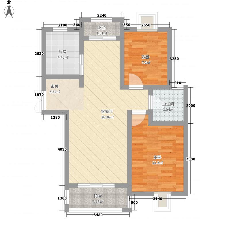 南国玲珑碧寓85.00㎡南国玲珑碧寓2室户型2室