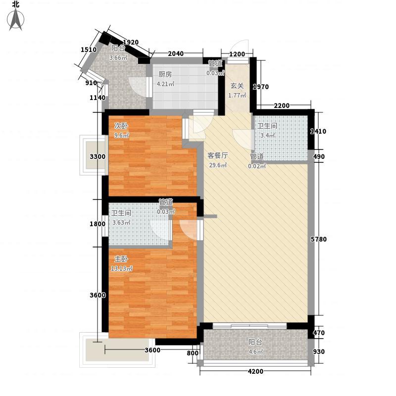 众邦金水湾105.70㎡A户型2室2厅2卫1厨