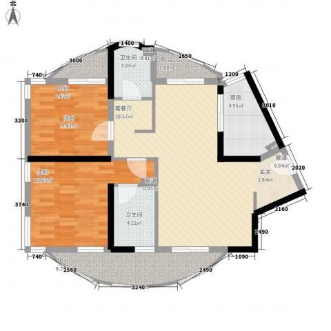 大华锦绣华城公园新纪2室1厅2卫1厨107.00㎡户型图