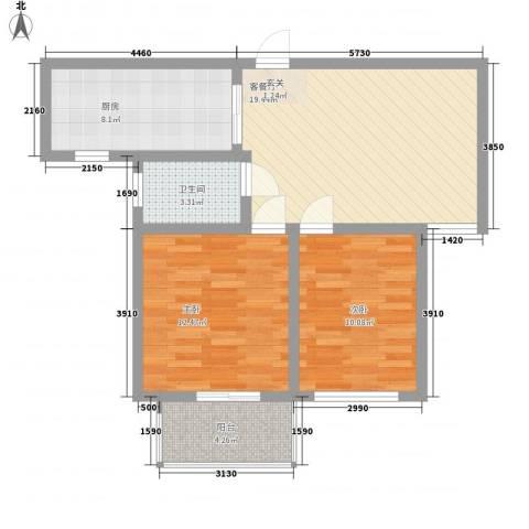 南艳滨湖时光2室1厅1卫1厨78.00㎡户型图