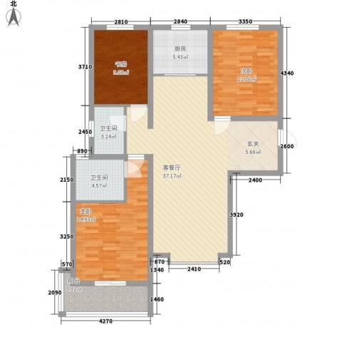 丽景华苑3室1厅2卫1厨132.00㎡户型图