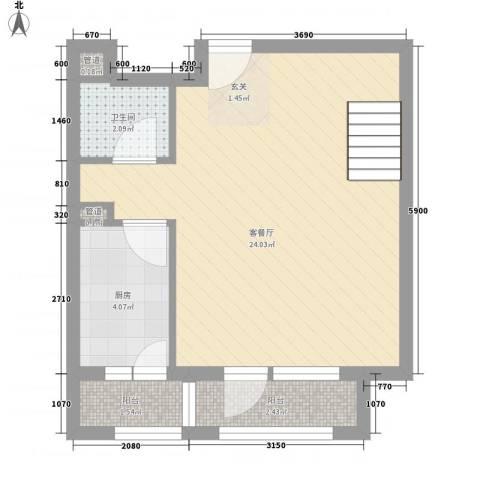 奇星御园1厅1卫1厨50.00㎡户型图