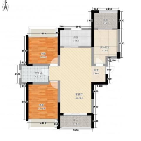 建业时光原著2室1厅1卫1厨86.00㎡户型图