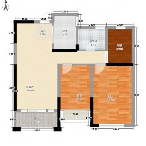 建业时光原著3室1厅1卫1厨88.00㎡户型图