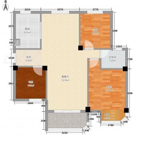 润和园3室1厅1卫1厨106.00㎡户型图