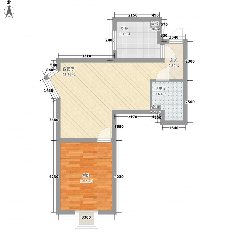 中级法院宿舍 1室 户型图