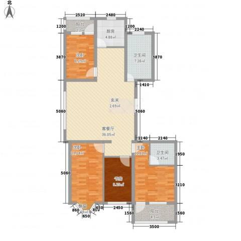 海源丽轩4室1厅2卫1厨147.00㎡户型图
