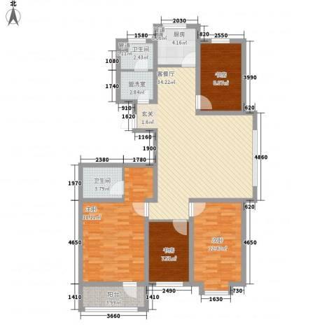 海源丽轩4室1厅2卫1厨146.00㎡户型图
