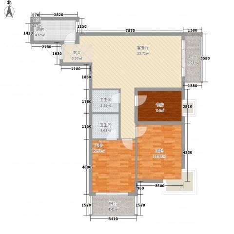 金色城市3室1厅2卫1厨124.00㎡户型图