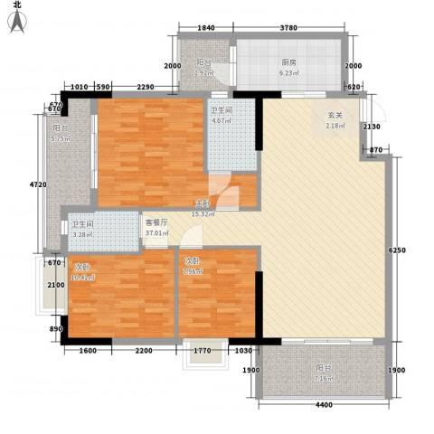 石竹花园3室1厅2卫1厨100.10㎡户型图
