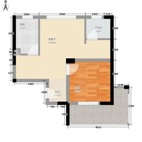银领时代1室1厅1卫1厨65.00㎡户型图