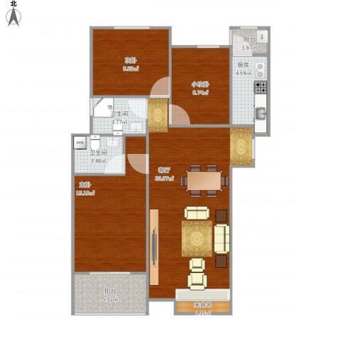齐鲁时代花园2室1厅2卫1厨114.00㎡户型图