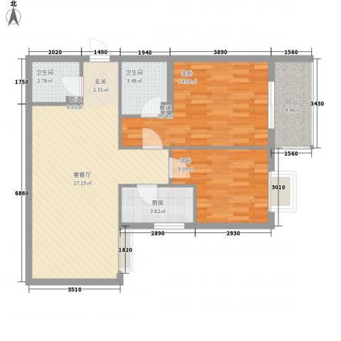 金色城市2室1厅2卫1厨91.00㎡户型图