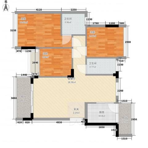 石竹花园3室1厅2卫1厨110.00㎡户型图