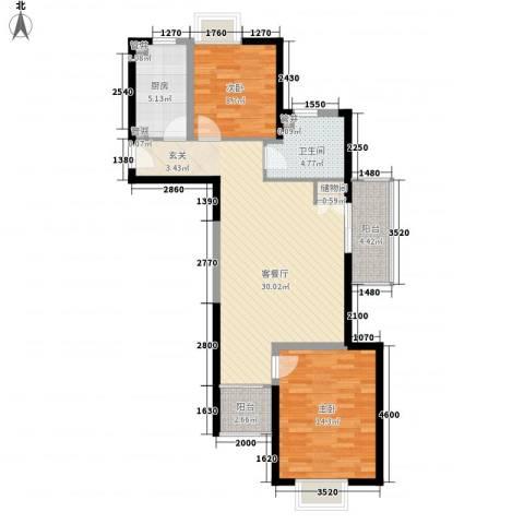 银领公寓2室1厅1卫1厨101.00㎡户型图