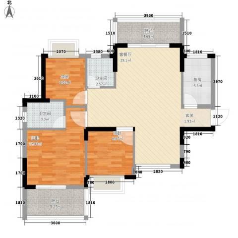 大儒世家绿园3室1厅2卫1厨107.00㎡户型图