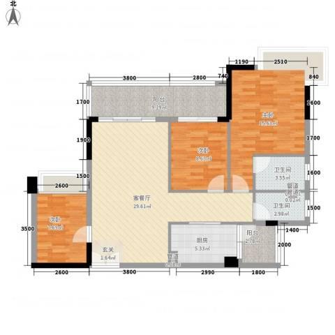 幸福湾3室1厅2卫1厨85.63㎡户型图