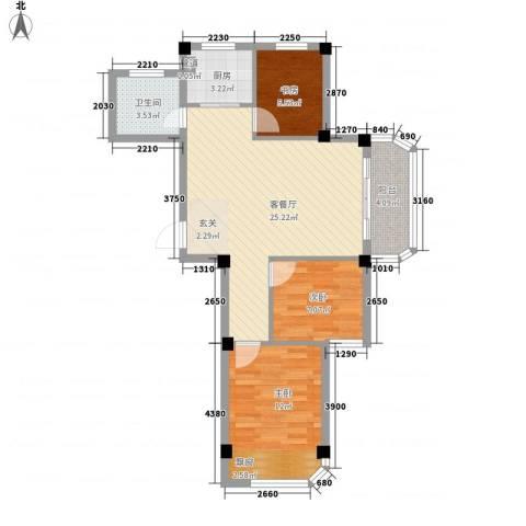 润和园3室1厅1卫1厨87.00㎡户型图