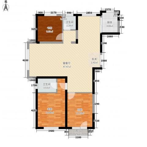 浦江御品3室1厅2卫1厨133.00㎡户型图
