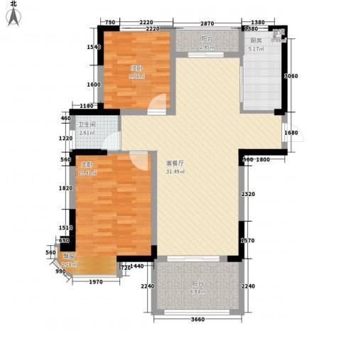 新安・达观天下2室1厅1卫1厨89.00㎡户型图