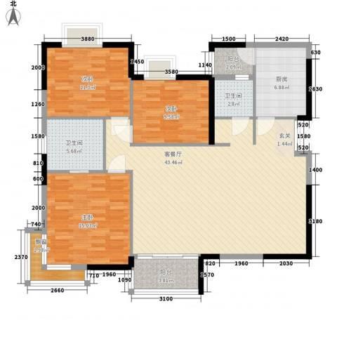 时代金典大厦3室1厅2卫1厨144.00㎡户型图