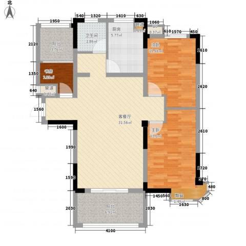 新安・达观天下3室1厅1卫1厨78.98㎡户型图