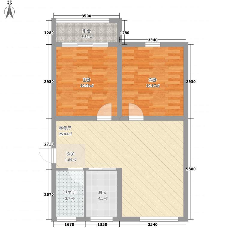 民丰公寓88.00㎡2室户型2室1厅1卫1厨