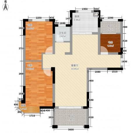 新安・达观天下3室1厅1卫1厨101.00㎡户型图