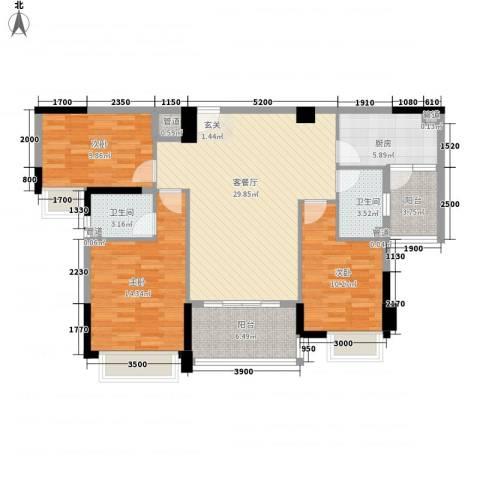 幸福湾3室1厅2卫1厨114.00㎡户型图