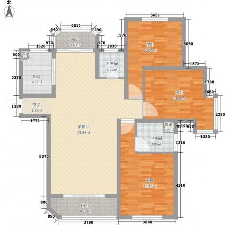 富川瑞园3室1厅2卫1厨140.00㎡户型图