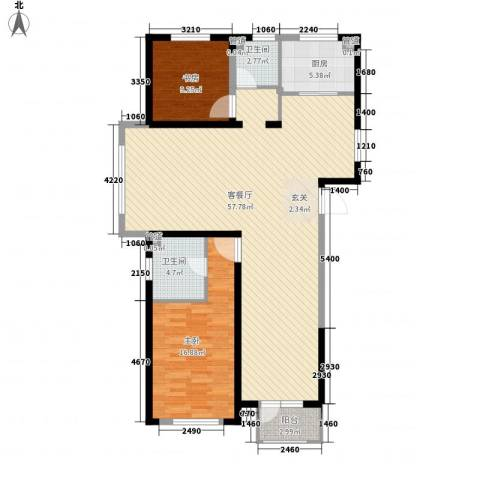 浦江御品2室1厅2卫1厨140.00㎡户型图