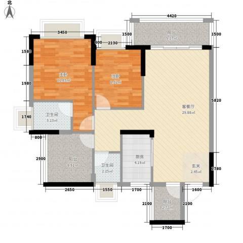 东逸湾花园2室1厅2卫1厨97.00㎡户型图