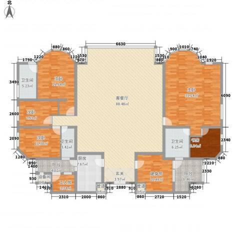 海珠半岛花园5室1厅3卫1厨298.00㎡户型图