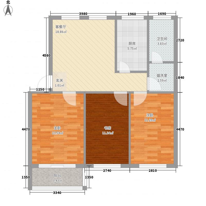 天安海景园3111户型3室1厅1卫1厨