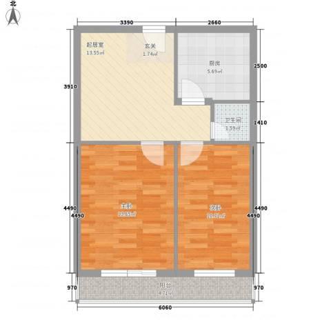育阳小区2室0厅1卫1厨71.00㎡户型图