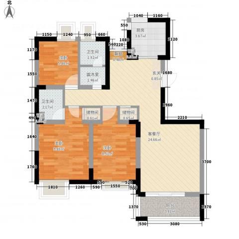 水秀新村3室1厅2卫1厨94.00㎡户型图